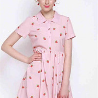 Pink Strawberry Printed Short-Sleeved Lapel Shirt Dress