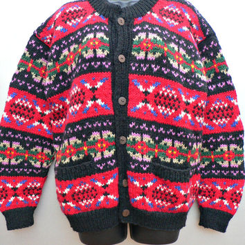 1970's Hand Knit Cardigan Sweater - Soft, Warm Wool - Red & Black Southwestern Style - Full Button Front