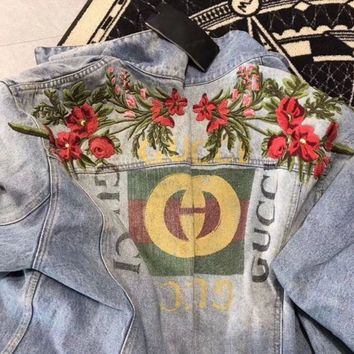 Gucci Fashion Trending Print Flower Embroidery Long Sleeve Denim Cardigan Jacket Coat