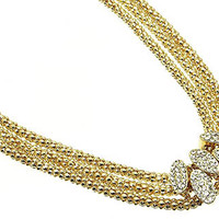 Oval Studded Gold Layered Necklace