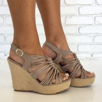 Kelsey Espadrille Wedges in Taupe