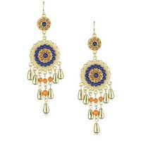 RAIN Gold Blue and Coral Dangle Earrings