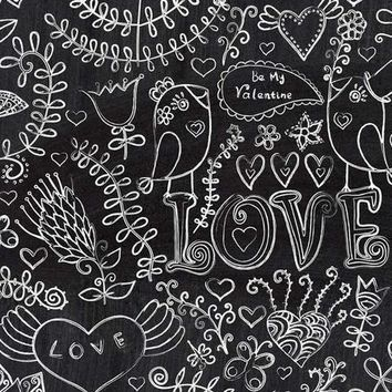 Chalkboard Love Hearts Vinyl Backdrop - 6x8 - LCCR9507 - LAST CALL