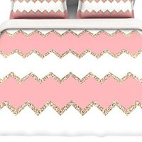 "Kess InHouse Monika Strigel ""Avalon Coral Ombre"" Pink Chevron Queen Cotton Duvet Cover, 88 by 88-Inch"