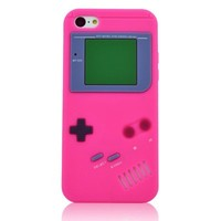 Modal Classics Hot Pink 3D GameBoy Style Soft Silicone Cover Case Compatible for Apple IPhone 5C
