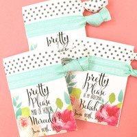 Pop the Question Hair Tie Party Favor Cards Will You Be My Bridesmaid Maid of Honor Matron and Flower Girl Floral Print Card Pretty Please
