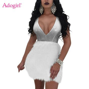 Adogirl 2018 New Faux Fur Patchwork Sequins Bodycon Dress Sexy Deep V Neck Sleeveless Open Back Bandage Mini Club Party Dresses