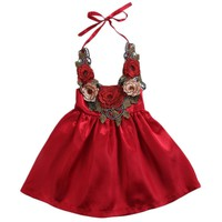 Toddler Kids Baby Girls Flowers Party Dress Formal Dresses Cute 3D Rose Princess Dress Clothes Summer 6M-5T