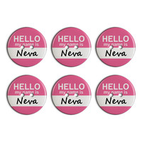 Neva Hello My Name Is Plastic Resin Button Set of 6