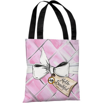"""""""Hello Beautiful Quilted Bow"""" 18""""x18"""" Tote Bag by Timree Gold"""