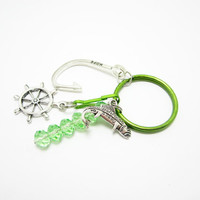 Fish Keychain Large Hook Charm Green Crystal Rondelles Free Zipper Pull Ships Wheel Boat Keys Fishing Key Chain