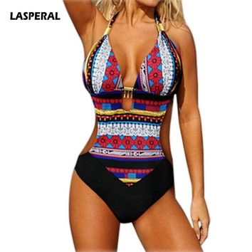 LASPERAL Sexy Women One Piece Swimsuit Bathing Suit Beach Plus Size Halter Monokini Push Up Retro Vintage Ethnic Women Swimwear