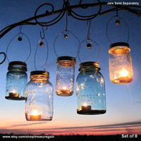 Candle Jar Gifts 8 DIY Hostess or Favor Gifts, Silver Gold Mason Jar Party Lanterns with Bell Decor, No Jars