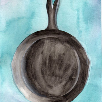 Cast Iron Skillet Watercolor Painting, Kitchen Art, Home Decor Painting