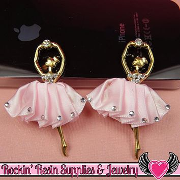 2 pc PINK BALLERINA Tutu with Crystals Decoden Cellphone Cabochon Decoration