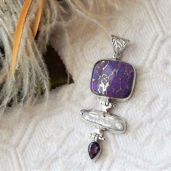 Artisan Sterling Silver Mohave Turquoise Baroque Peacock Pearl Amethyst Pendant
