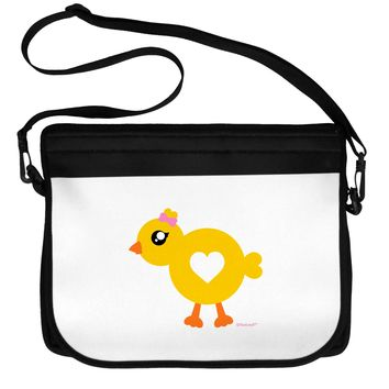 Cute Chick with Bow Neoprene Laptop Shoulder Bag by TooLoud