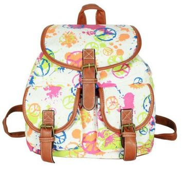 Day-First™ Cute World Peace Print College School Bag Canvas Backpack Daypack