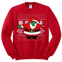 Dabbing Santa Claus Ugly Christmas Sweater | Unisex Adult Crewneck Sweatshirt