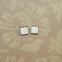Square Wood Stud Earrings Tiny Post Wooden Studs
