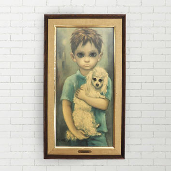 1960's BIG EYES Original Keane Print - No Dogs Allowed