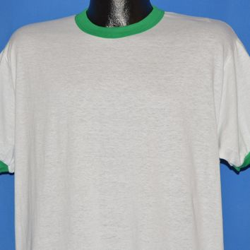 80s White And Green Blank Ringer t-shirt Extra Large