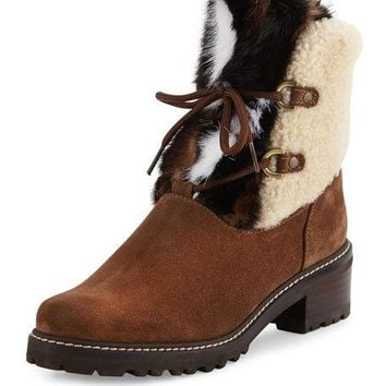 Stuart Weitzman Furnace Shearling Fur Hiker Boot, Brown