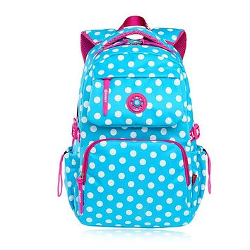 sky blue polka dot backpacks for teenage girls school bags schoolboy bagpack student bookbag schoolbag women backpack mochila