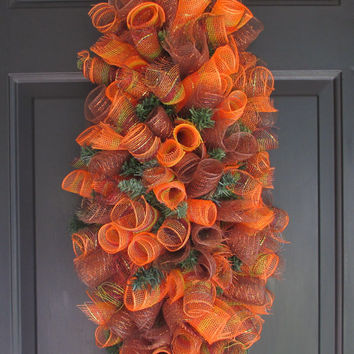 Spiral Deco Mesh Wreath Swag, Bendable Swag, Cascade Centerpiece, Spring Summer Fall, Year Round Home Decor