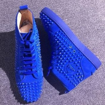 Christian Louboutin CL Louis Spikes Style #1896 Sneakers Fashion Shoes Best Deal Online