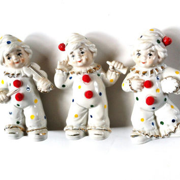 Porcelain Clown Collection , Musical Clowns , Clown Figurine, White Ceramic Clowns , Instant Clown Collection , Christmas Clowns