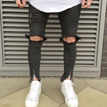 Top quality 2018 Fashion Casual Knee damage cutting Distressed Biker elastic jeans high street hip hop denim cargo trousers men