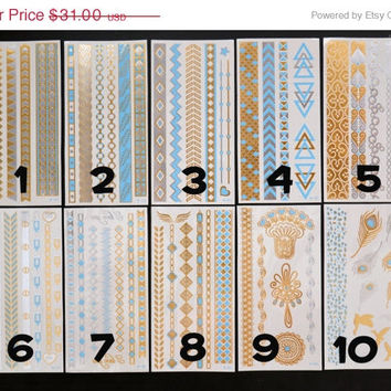 SALE!  Pick Any Four Bundle Pack! - Metallic Gold Silver and Light Blue Temporary Tattoo - Flash Tattoo - Jewelry - Body Ink Art - Stylish
