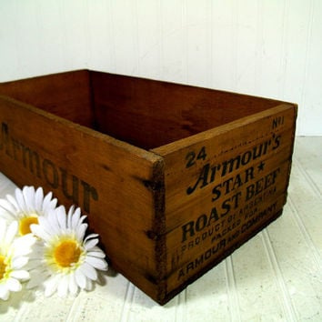 Vintage Armour Star Roast Beef Large Wooden Box -  Rustic Wood Industrial Shipping Container Rectangular Advertising Crate Ready to Upcycle