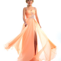 Mac Duggal Prom 2013 - Peach Gown With Sequin & Rhinestone Embellishments - Unique Vintage - Cocktail, Pinup, Holiday & Prom Dresses.