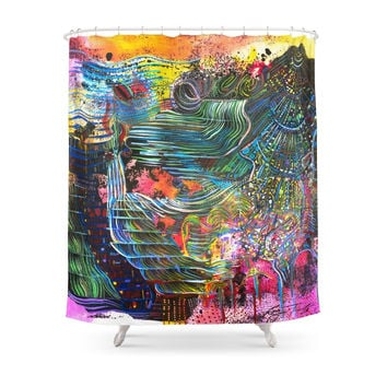 Society6 Slow Music Shower Curtain