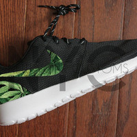 NEW DESIGN! Nike Roshe Run Black White Cannabis Weed Print Custom Women & Men
