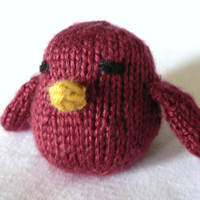 Handknit Ruby Red Song Bird Toy by TailsandSnouts on Etsy