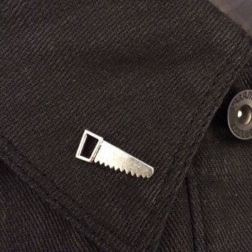 Saw Tool Lapel Pin / Tie Tack - Antique Silver Tone - Carpenter