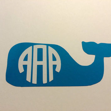 Whale Monogram Decal - For Your Car, Laptop, Anything!