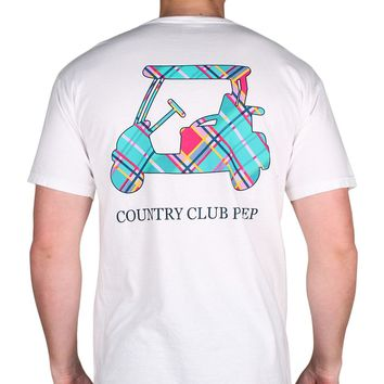 Madras Golf Cart Tee Shirt in White by Country Club Prep