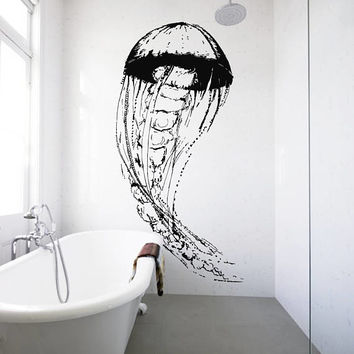 Jellyfish Wall Decal, Jellyfish Wall Sticker, Jellyfish Bathroom Wall Decor, Jellyfish Wall Design, Beach House Decor, Bathroom Art se041