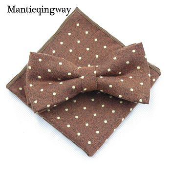 Cotton Bow Tie Handkerchief Sets For Mens Wedding Polka Dots Printed Skinny Bow Tie Gravatas Slim Hanky Set Cravat