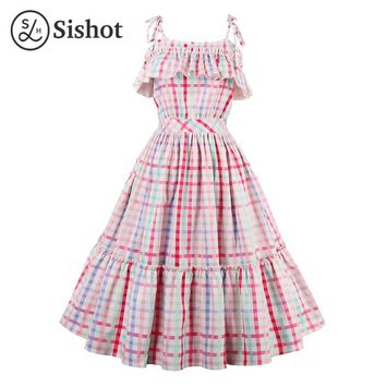 women retro dress  summer ruffles cute party dress multi color plaid sleeveless a line knee length dresses