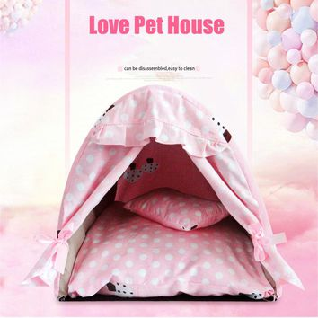 2 In 1 Detachable Pet House Summer Washable Dog House Small Teddy Parturition Bed
