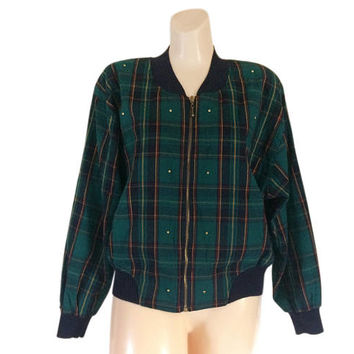 Vintage 90s Bomber Jacket Women Bomber Jacket Plaid Jacket Studded Jacket Green Jacket Blue Jacket Spring Jacket Lightweight Jacket Clothing