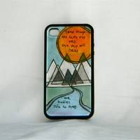 Safe To Shore, iphone case, iphone cover, Of Monsters and Men, Little Talks lyric, mountains, sunrise, river, hipster, unique, one of a kind