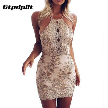 Gtpdpllt Spaghetti Stpap Summer Dress Women Embroidery Halter Bodycon Beach Dress Sexy Party Dresses Vestidos bandage clothes