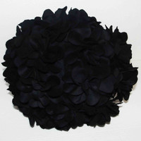 "Black flower pouf cushion in 16"" diameter"