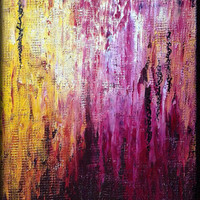 "Colorful, textured abstract oil painting on 11""x14"" canvas"
